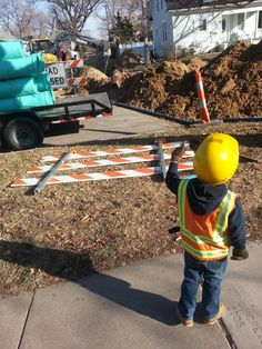 Took my 3 yo down the street to watch some construction; he wanted to wear his old halloween costume.  [This was me when I was little (I was older than 3 though), but I didn't dress up.]