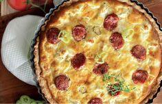 Αλμυρη Τάρτα με λουκανικο και λευκο τυρι Lidl, Food Art, Sausage, Pizza, Snacks, Tarts, Breakfast, Desserts, Eggs