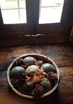 rustic decor with pine cones