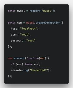 How To Connect Nodejs Application To MySQL Database. We install the package from npm called mysql and then connect our express app to mysql database. C Programming Learning, Python Programming, Computer Programming, Computer Science, Mobile Application Development, Web Development, Learn Html, React Native, React App