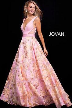 Pink Multi V Neck Floral Prom Ballgown 59799