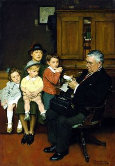 Norman Rockwell (1894-1978) - WHEN THE DOCTOR TREATS YOUR CHILD.