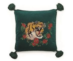 8a134bbf90d Gucci Velvet cushion with tiger embroidery