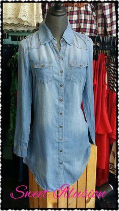 Jean button up shirt/tunic