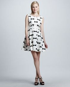 bows bows bows / kate spade new york marilyn bow-printed low-back dress - Neiman Marcus