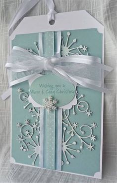 Snowflake Tag - ML 83 by MarianneLamb - Cards and Paper Crafts at Splitcoaststampers....BEAUTIFUL tag!