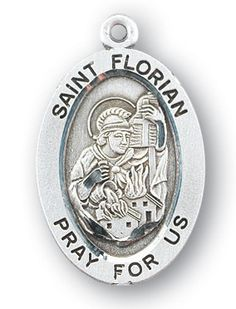 Sterling Silver Oval Shaped St. Florian Medal by HMH | Catholic Shopping .com