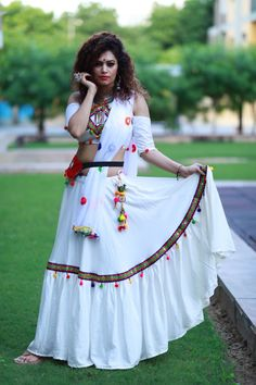 Lehanga and choli With foil mirror work & pom pom border work Chaniya Choli Designer, Garba Chaniya Choli, Garba Dress, Navratri Dress, Choli Dress, Lehenga Choli, Navratri Garba, Bollywood Lehenga, Pink Lehenga