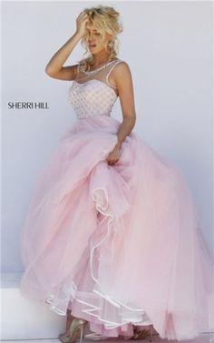 Beaded Sherri Hill 50008 Sweetheart Open Back 2016 Pink Long Prom Gown