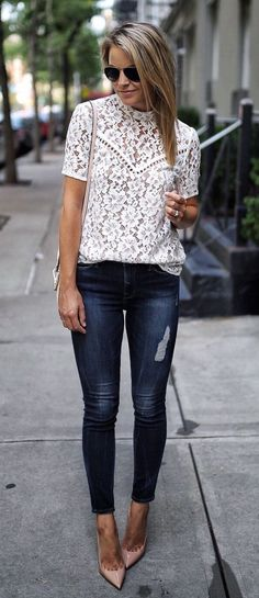 Cute lace top with navy skinny jeans