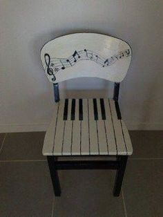 Music inspired piano upcycled chair