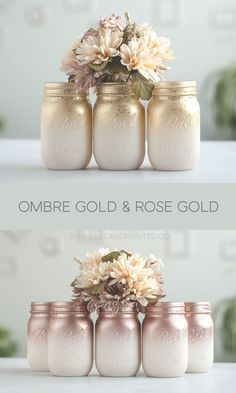 Glitter & Painted Mason Jar Centerpieces & Home Decor by SprinkledandPainted Ombre painted mason jars. Ivory with rose gold or gold and a dash of glitter. Glitter Paint Mason Jars, Painted Mason Jars, Mason Jar Painting, Mason Jar Crafts, Mason Jar Diy, Gold Mason Jars, Wedding Mason Jars, Mason Jar Flowers, Dash Of Glitter