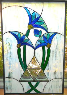Egyptian Lotus with Pyramid Art Deco Style by glassmagic on Etsy