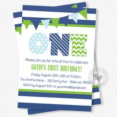 First Birthday Invitation, Blue and Green Party Invitation, Boy 1st Birthday Invitation, ONE Invitation, Preppy by ConfettiFete on Etsy https://www.etsy.com/listing/101744115/first-birthday-invitation-blue-and-green