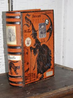 LARGE Vintage Paper Mache Halloween Witch's Book of SPELLS Box PAINTED (Witch)…