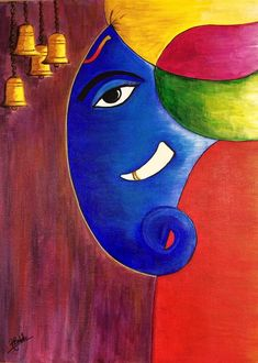 Ganesha Painting - Ganesha by Aarti Bartake Oil Pastel Paintings, Oil Pastel Art, Indian Art Paintings, Original Paintings, Lord Ganesha Paintings, Ganesha Art, Ganesha Rangoli, Ganesha Drawing, Madhubani Art