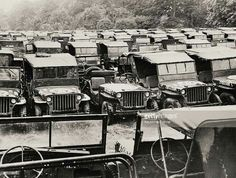 United States Army Depot, Jeeps Waiting To Go To United States At. Military Jeep, Military Vehicles, 2017 Wrangler, Willys Mb, United States Army, Military History, Old Cars, Scale Models, Offroad