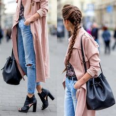 Get this look: http://lb.nu/look/8469399  More looks by Markéta Bártová: http://lb.nu/marketabartova  Items in this look:  Mohito Black Bucket Bag, Front Row Shop Dusty Pink Trench Coat, Zara Blue Boyfriend Jeans, Mohito Black Open Toe Booties   #chic #grunge #street