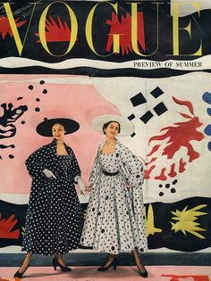 Cecil Beaton, Vogue, April 1949. Models: Jean Patchett (L) and Carmen Dell'Orefice.