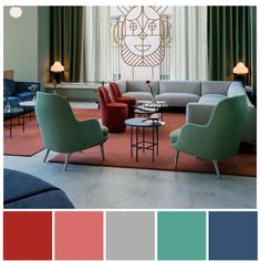 A funky double complementary colour scheme featuring red and green plus blue and orange. Double complementary colour palette illustration by Zena O'Connor using an image of Hotel Barceló Torre de Madrid by designer, Jaime Hayon.