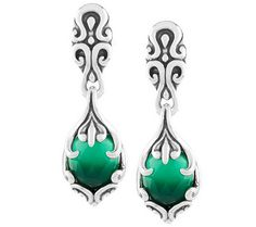 Sterling Silver Green Stone Dangle Earrings Chrysoprase Chalcedony Deep Emerald Green Oval Faceted Large Gemstones