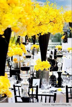 Gorgeous black & yellow wedding theme and table centerpiece.