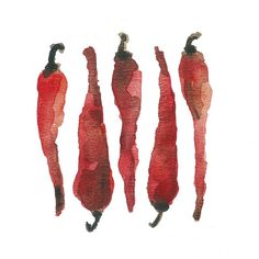 Red hot chili peppers art print of original watercolor painting in hot red botanical limited edition, kitchen decor kitchen art on Etsy, $21.00