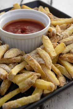 Crispy baked fries made with  Aquafaba / chickpea brine / water