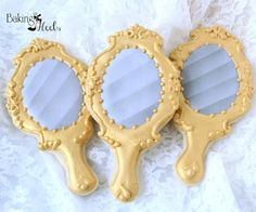 Listing is for One dozen (12) Hand Mirror Cookies (Can be done in Silver or Gold) DATE NEEDED: Please leave your event date in note to seller