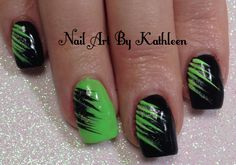 Neon Green and Black Nail Art #nails #nailart #naildesign #nailpolish #notd #nailartbykathleen #green #black #neon #freehand #youtuber