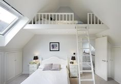 Cute Bedroom Ideas for 13 Year Olds Traditional Bedroom with Loft Bedroom in Lon. Cute Bedroom Ideas for 13 Year Olds Traditional Bedroom with Loft Bedroom in London by Dyer Grimes Mezzanine Bedroom, Loft Room, Bedroom Ceiling, Bedroom Loft, Dream Bedroom, Loft Beds, White Bedroom, Attic Loft, Bed Room