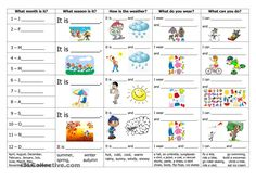 Seasons Worksheets for Kindergarten Months Seasons Weather Clothes and Activities English Seasons Worksheets, Weather Worksheets, Seasons Activities, Kindergarten Worksheets, Worksheets For Kids, Printable Worksheets, Seasons Months, Weather Seasons, Days And Months