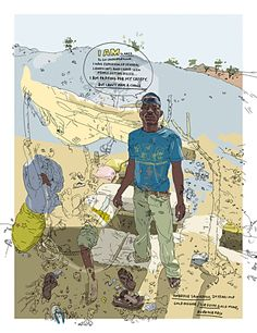 Reportage drawings by Olivier Kugler. Kugler includes quotes from his interviewees as part of the illustration.