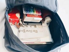 think-minimally:after class bag w/ binder, nyt, book, bullet journal, bkr bottle, fineliners, and a cath kidston pencil bag. all in my kanken classic.
