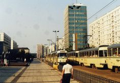 Karl-Marx-Str, with Haus des Lehrers, Magdeburg and Tatra  T4D and B4D trams,Aug 1988