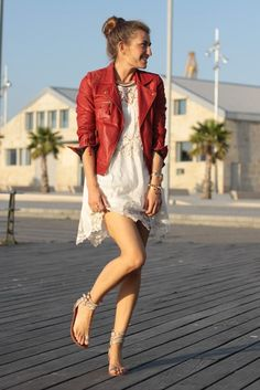 RED JACKET, white lace dress & nude shoes
