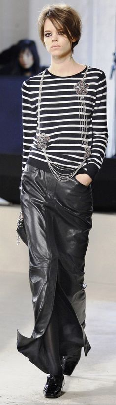 Chanel Fall 2014. Maxi leather skirt may be the only form of leather I don't have... : )