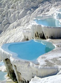 """It's not surprising Pamukkale translates to """"cotton castle"""" in Turkish. Sink into the luxurious natural hot springs that have been used as a spa since the second century BC on our Turkey Encompassed tour. #LiveIntrepid"""