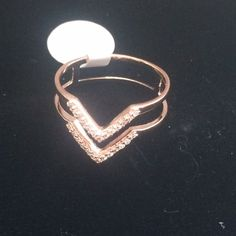 """Double V Design Ring Rose gold  plated sterling silver double row CZ """"V"""" design ring. Each row is approximately 1.2mm. The ring is 5mm wide. The back of the ring has two 2mm X 5mm polished bars that join the bands together.  The ring is available in whole sizes 5-10.  .925 STERLING SILVER ♨️GORGEOUS IN PERSON ♨️ OJ Designs Jewelry Rings"""