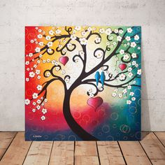Whimsical Tree Painting Cherry Tree of Life Wall Art Tree