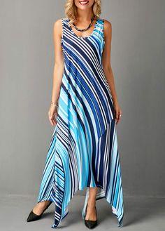 Asymmetric Hem Sleeveless Striped Blue Dress | modlily.com - USD $34.15