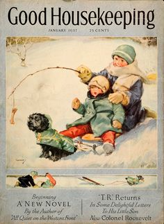 2 kids/dog sled - Good Housekeeping ~ January 1937