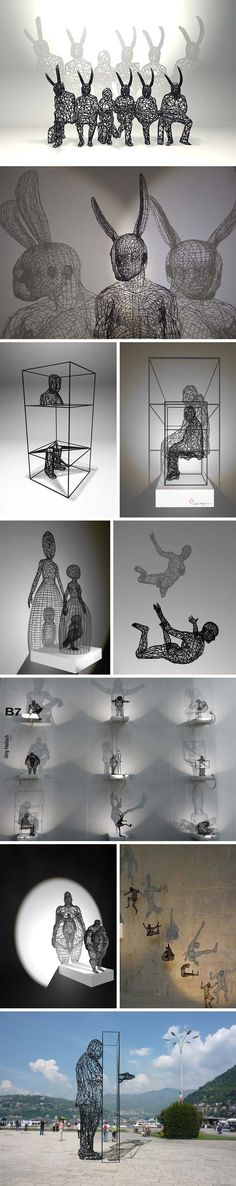 contemporary sculpture, surreal sculpture working with polymide and shadows, virtuality, Lutz Wagner, Moto Waganari