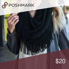 """Pointelle Fringe Infinity Scarf Black. Mix knit infinity scarf. 100% acrylic! 29"""" by 19""""🚫Prices are firm unless bundled🚫 Flying Free Btq Accessories Scarves & Wraps"""