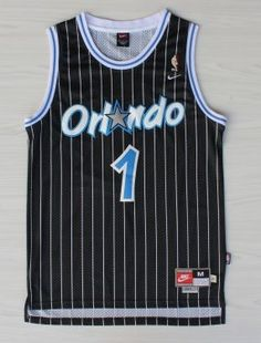 897714fbd2a4c NBA Orlando Magic All Star Anfernee Penny Hardaway Black Retro Pinstripe  Basketball Jersey 1