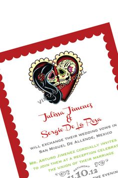 Dia de los muertos Invitation and RSVP card Wedding Calaca Scallop card Day of the Dead Banner Rehearsal dinner - I design you print on Etsy, $45.00