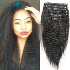 Kinky Straight Clip In Human Hair Extensions 7A Italian Coarse Yaki Human Hair Brazilian Virgin Hair Clip In Extension