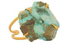 The Crysocolla Cuff Natural semiprecious stone slab of Chrysocolla. Similar to Turquoise. Brass bangle is handmade. Prong set stones. Handmade jewelry. Made in america.