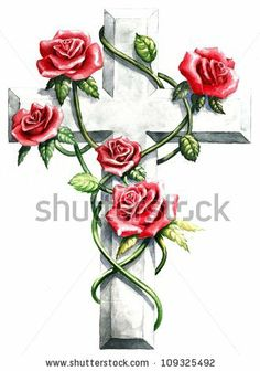 inspirational religious clip art stone granite cross red pink roses, green ivy vine abstract design frame cross, hand paint watercolor cross...
