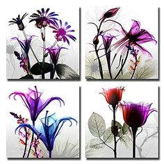 Natural art - 4 Panels Huge Modern Giclee Prints Artwork Multi Flowers Pictures Photo Paintings Print on Canvas Wall Art for Home Walls Decor Stretched and Framed Ready to Hang by Natural art, http://www.amazon.com/dp/B01LZB6JGD/ref=cm_sw_r_pi_dp_x_OY1qzbM9R0HKJ